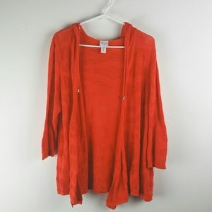 CHICOS Weekends Top Size 2 M L Coral Cardigan